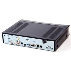 Qviart Lunix3 4K DVB-S2 FBC. Qviart Lunix3 4K DVB digitalmodtager bagside med tilslutningsmuligheder